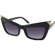 Bat Wing Gold Tipped Sunglasses in Black
