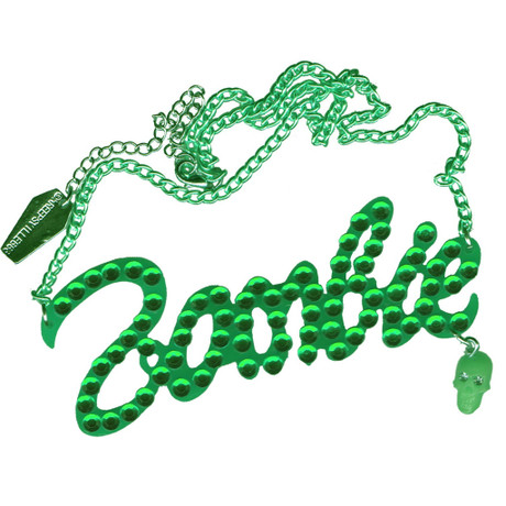 Trash Monkey ** KREEPSVILLE - Green Diamonte Zombie Necklace