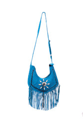 Switchblade Stiletto - Small Fringe Suede Purse Blue