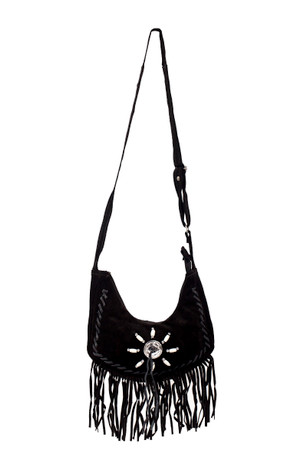 Trash Monkey ** Switchblade Stiletto - Small Fringe Suede Purse Black