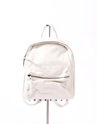 White Backpack with Studded Base