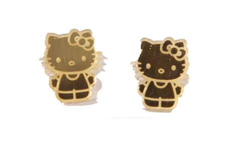 Trash Monkey ** Hello Kitty Gold Body Earrings