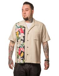 Trash Monkey ** Steady Clothing - Hibiscus Tiki Panel Button Up in Stone