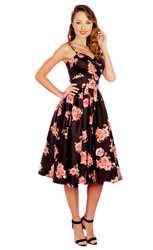 Stop Staring - Arana Swing Dress in Black & Pink Floral