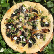 MUSHROOM (v) creamy bianco base, roasted mushrooms, roasted red onion, mozzarella, goat's cheese, lemon-thyme