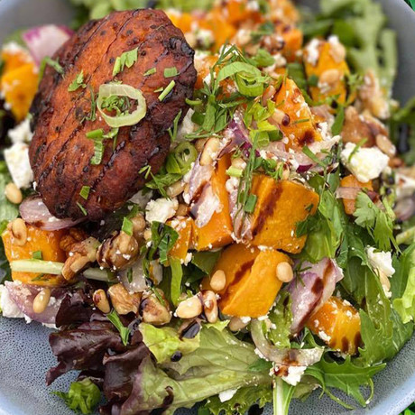 PUMPKIN & FETA SALAD  Roasted pumpkin, crumbled feta, spinach, pine nuts, walnuts, house dukkha & sweet potato, quinoa and black bean patty with balsamic dressing