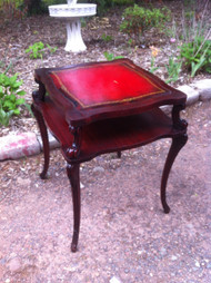 Antique Mahogany Red Leather End Table