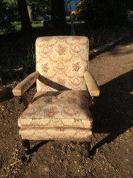 Antique Upholstered Arm Chair w/ Down Cushion