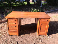 Antique Solid Oak Bankers Desk
