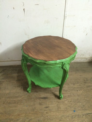 Distressed Handpainted French Provincial Round Tiered Table