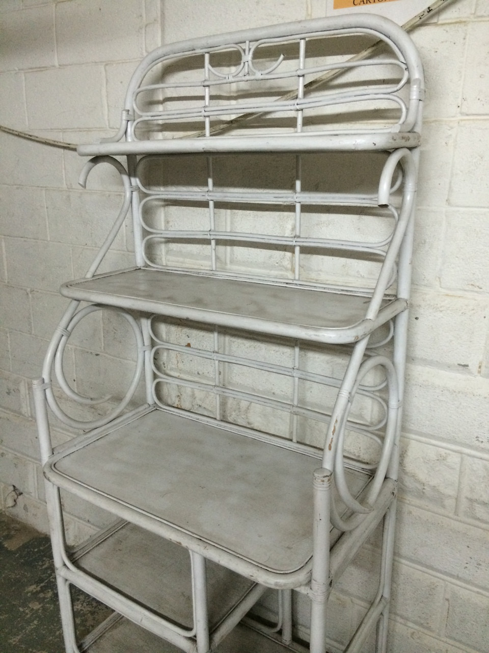 Vintage White Bamboo Bakers Rack Forgotten Furniture