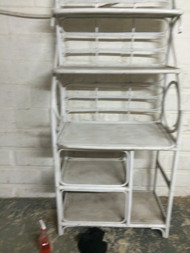 Vintage White Bamboo Bakers Rack