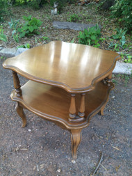 French Provincial Square Cherry Two Tiered Table