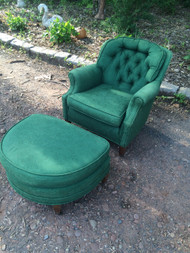 Vitnage Green Tufted Club Chair and Ottoman