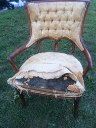 Tufted Sculptural Cherry Arm Chair