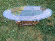Vintage Hollywood Regency Oval Glass Coffee Table