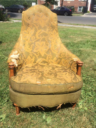 Upholstered Cherry Throne Chair