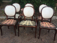 Set of 6 Polished Cherry Round Back Dining Chairs