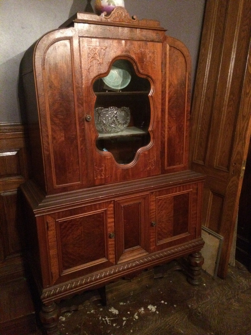 Antique Depression Era Carved Arch Top China Cabinet - Forgotten Furniture