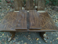 8ft Oak Dining Table w/ 6 Caned Back Chairs