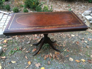 Mahogany Leather Top Pedestal Library / Sofa Table