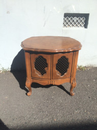 French Provincial Oak Drum End Table