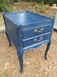 French Provincial Chalk Painted End Table - Napoleonic Blue