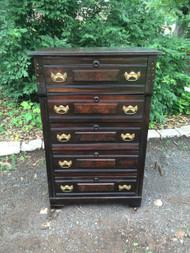 Antique Victorian Eastlake Burled Walnut 5 Drawer Dresser