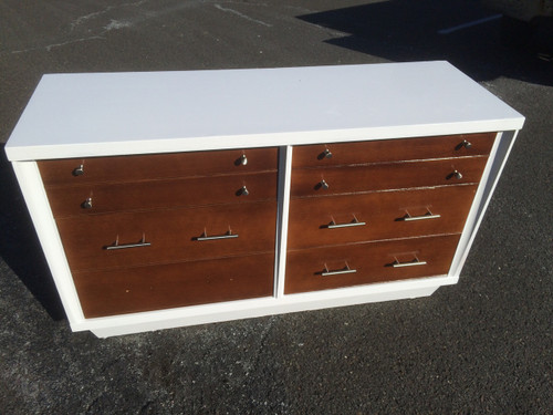 mid century modern white walnut 6 drawer dresser forgotten furniture. Black Bedroom Furniture Sets. Home Design Ideas