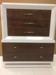 Mid Century Modern Dark Walnut and White 5 Drawer Dresser
