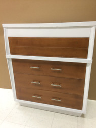 Vintage Mid Century Modern White and Walnut 4 Drawer Dresser
