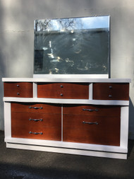 Vintage Modern White and Walnut 7 Drawer Dresser w/ Mirror