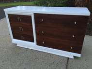 Vintage Modern White Walnut 6 Drawer Dresser