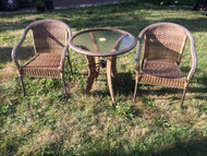 Resin Wicker and Glass Bistro Patio Set