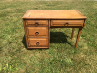 Vintage Modern 4 Drawer Oak Desk