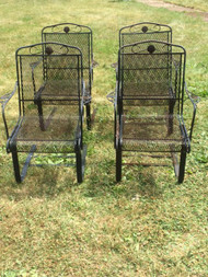 Set of 4 Wrought Iron Patio Arm Chairs