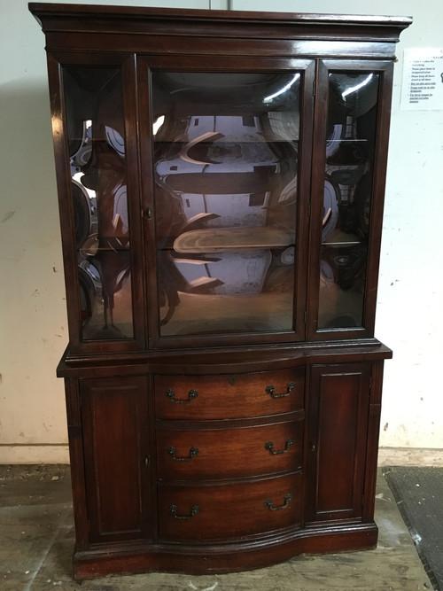 Antique Mahogany China Cabinet W Bubble Glass Forgotten
