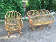 Outdoor Bamboo Settee and Arm Chair