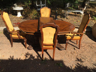 7ft Oak Dining Table w/ 4 Chairs