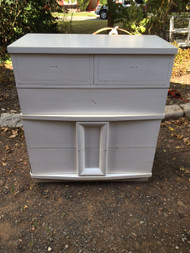 Vintage Modern White 5 Drawer Dresser