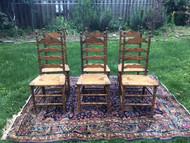 Set of 6 Oak Ladderback Rush Bottom Dining Chairs