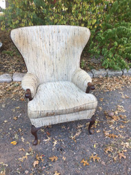 Antique Mahogany Curved Wingback Chair