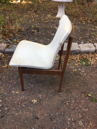 Mid Century Modern Walnut / White Accent Chair