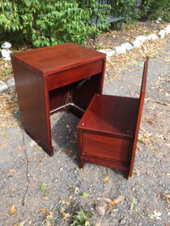 Vintage Modern Mahogany Desk w/ Concealed Chair