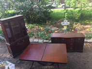 Antique 3pc Mahogany Dining Set - China, Buffet, Table