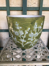 "9"" Green Cherry Blossom Glazed Planter Pot - Vintage NEW OLD STOCK!"