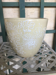 "9"" Tan Flowers Glazed Planter Pot - Vintage NEW OLD STOCK!"