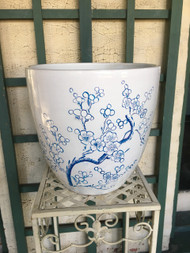 "13"" Blue Cherry Blossom Glazed Planter Pot - Vintage NEW OLD STOCK!"