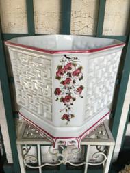 "12"" Cherry Blossom Glazed Planter Pot - Vintage NEW OLD STOCK!"
