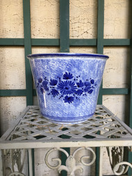 "9"" Blue on White Floral Glazed Planter Pot - Vintage NEW OLD STOCK!"